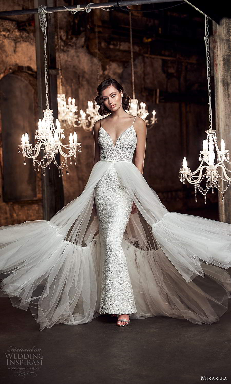 mikaella fall 2020 bridal sleeveless spaghetti straps plunging sweetheart neckline fully embellished sheath wedding dress sheer a line overksirt sweep train (4) mv