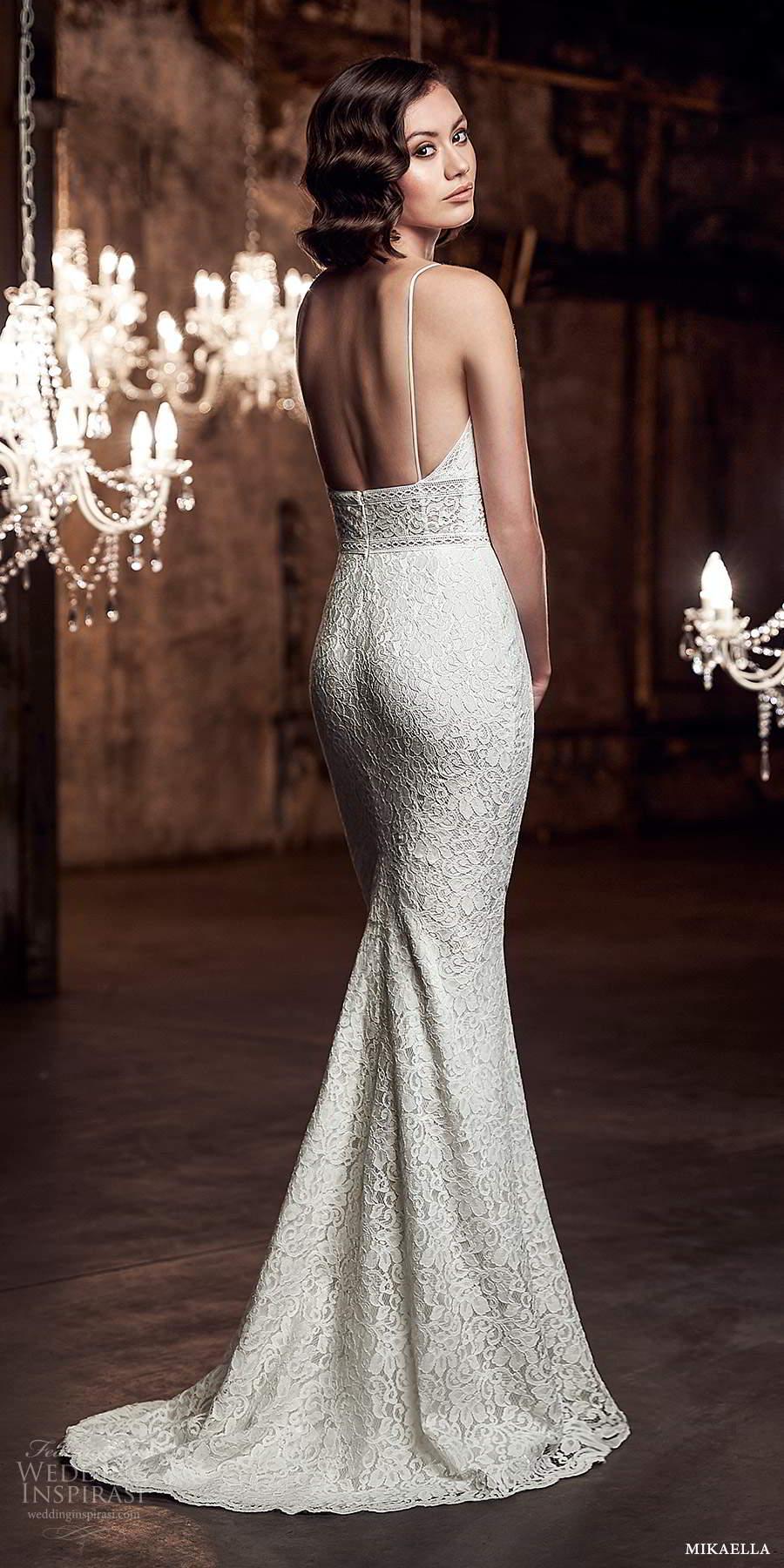 mikaella fall 2020 bridal sleeveless spaghetti straps plunging sweetheart neckline fully embellished sheath wedding dress sweep train (4) bv