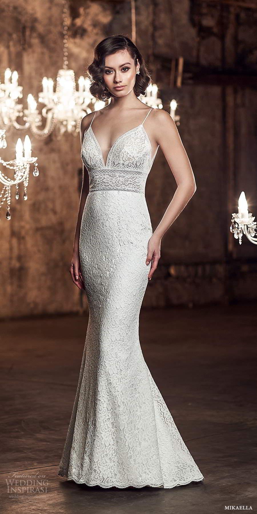 mikaella fall 2020 bridal sleeveless spaghetti straps plunging sweetheart neckline fully embellished sheath wedding dress sweep train (4) mv