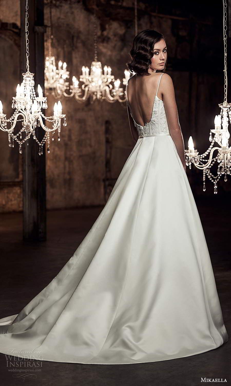 mikaella fall 2020 bridal sleeveless spaghetti straps scoop neckline embellished bodice a line ball gown wedding dress chapel train scoop back (10) bv