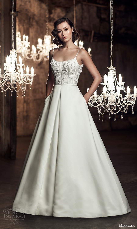 mikaella fall 2020 bridal sleeveless spaghetti straps scoop neckline embellished bodice a line ball gown wedding dress chapel train scoop back (10) mv