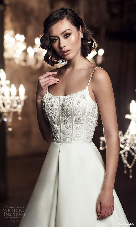 mikaella fall 2020 bridal sleeveless spaghetti straps scoop neckline embellished bodice a line ball gown wedding dress chapel train scoop back (10) zv