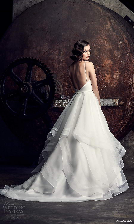 mikaella fall 2020 bridal sleeveless spaghetti straps sweetheart neckline clean minimalist a line ball gown wedding dress tiered skirt chapel train (1) bv