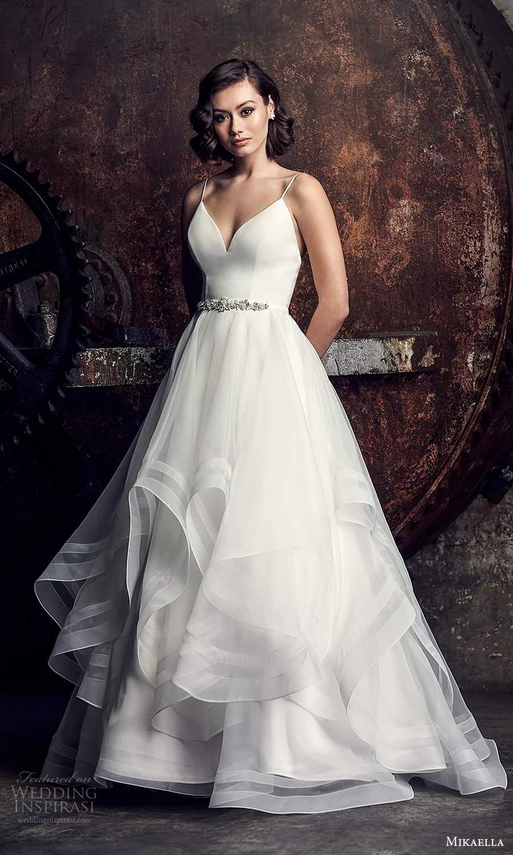 mikaella fall 2020 bridal sleeveless spaghetti straps sweetheart neckline clean minimalist a line ball gown wedding dress tiered skirt chapel train (1) mv