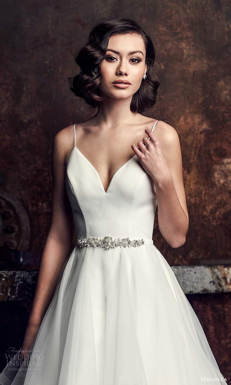 mikaella fall 2020 bridal sleeveless spaghetti straps sweetheart neckline clean minimalist a line ball gown wedding dress tiered skirt chapel train (1) zv