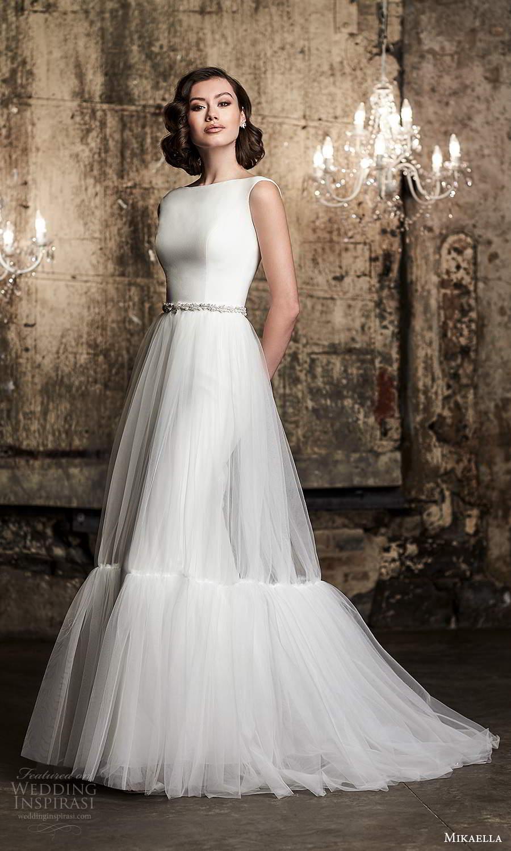 mikaella fall 2020 bridal sleeveless straps bateau neckline clean minimalist sheath wedding dress a line overskirt (14) mv