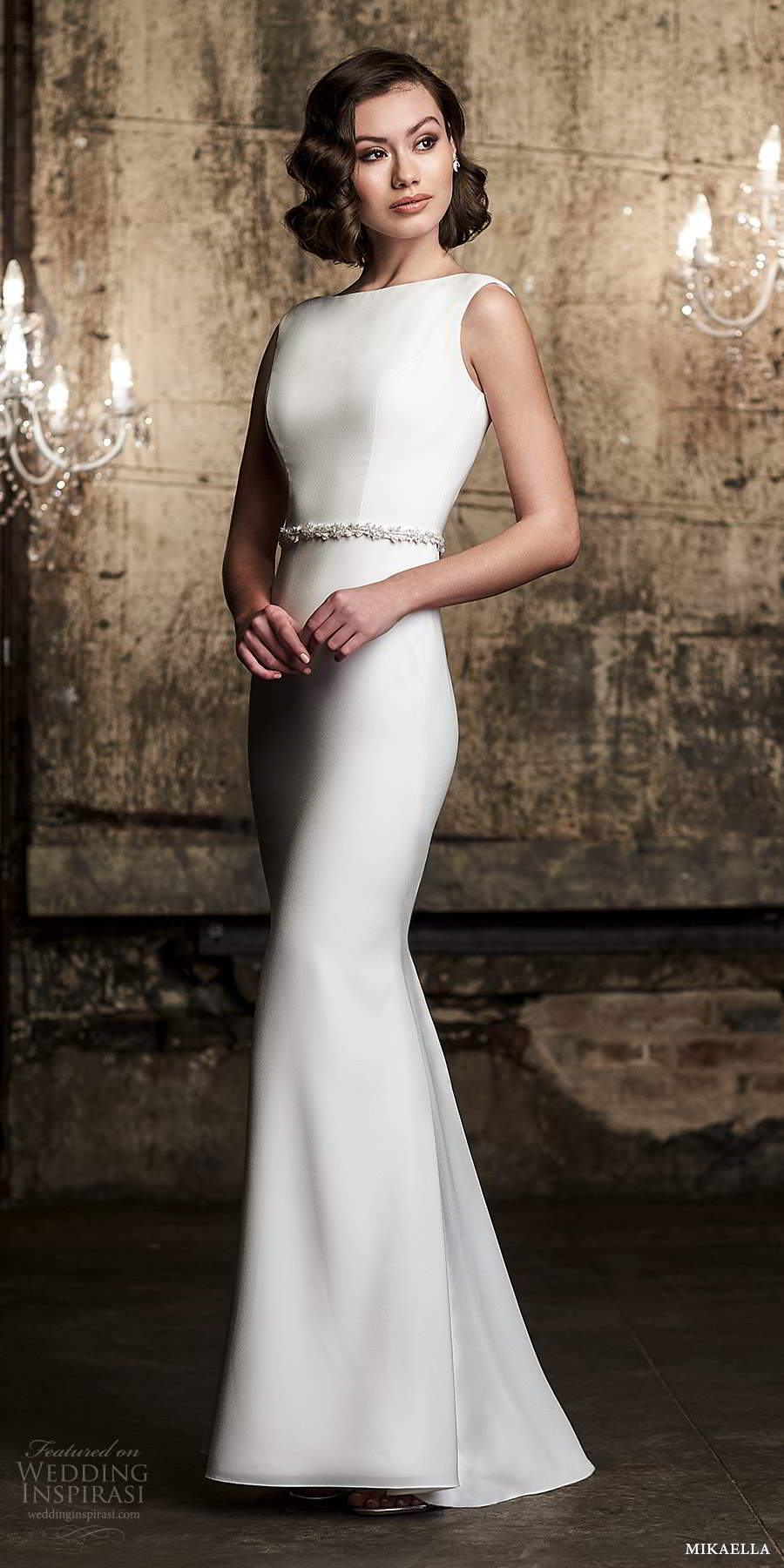 mikaella fall 2020 bridal sleeveless straps bateau neckline clean minimalist sheath wedding dress belt (14) mv