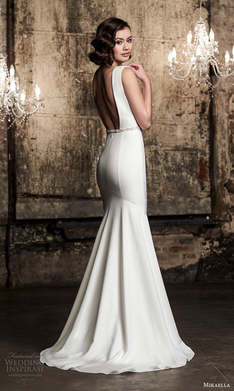 mikaella fall 2020 bridal sleeveless straps bateau neckline clean minimalist sheath wedding dress low back (14) mv