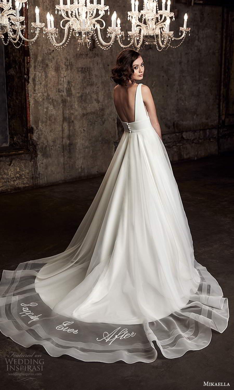 mikaella fall 2020 bridal sleeveless straps plunging v neckline clean minimalist a line ball gown wedding dress chapel train (11) bv