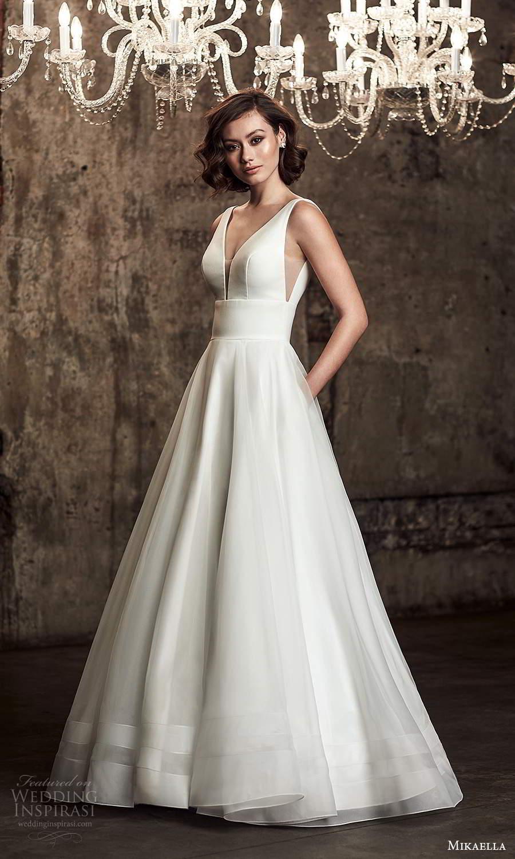 mikaella fall 2020 bridal sleeveless straps plunging v neckline clean minimalist a line ball gown wedding dress chapel train (11) mv