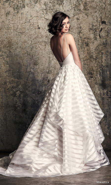 mikaella fall 2020 bridal sleeveless straps v neckline modern a line ball gown wedding dress tiered skirt chapel train (3) bv