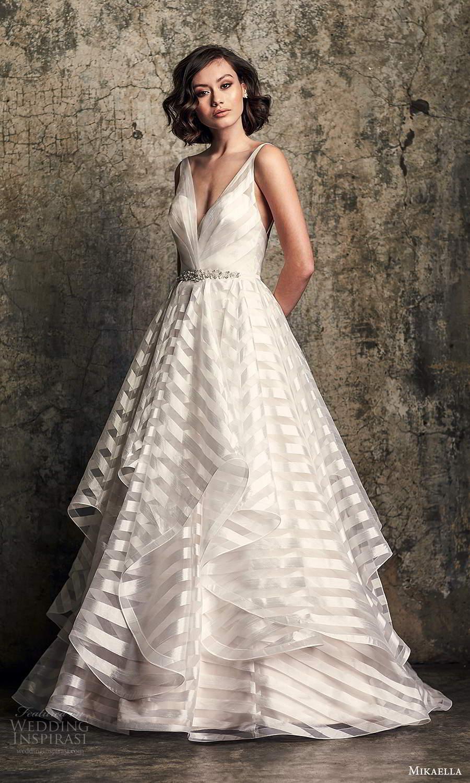 mikaella fall 2020 bridal sleeveless straps v neckline modern a line ball gown wedding dress tiered skirt chapel train (3) mv