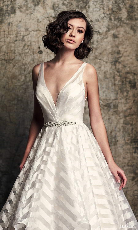 mikaella fall 2020 bridal sleeveless straps v neckline modern a line ball gown wedding dress tiered skirt chapel train (3) zv