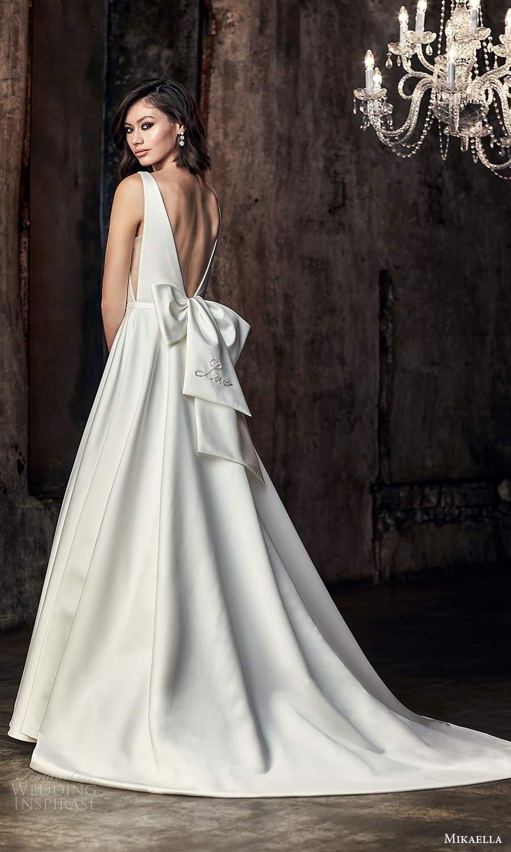 mikaella fall 2020 bridal sleeveless thick straps plunging v neckline clean minimalist modern a line ball gown wedding dress chapel train (6) bv