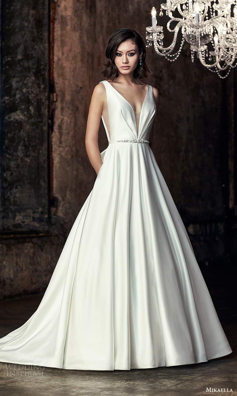 mikaella fall 2020 bridal sleeveless thick straps plunging v neckline clean minimalist modern a line ball gown wedding dress chapel train (6) mv