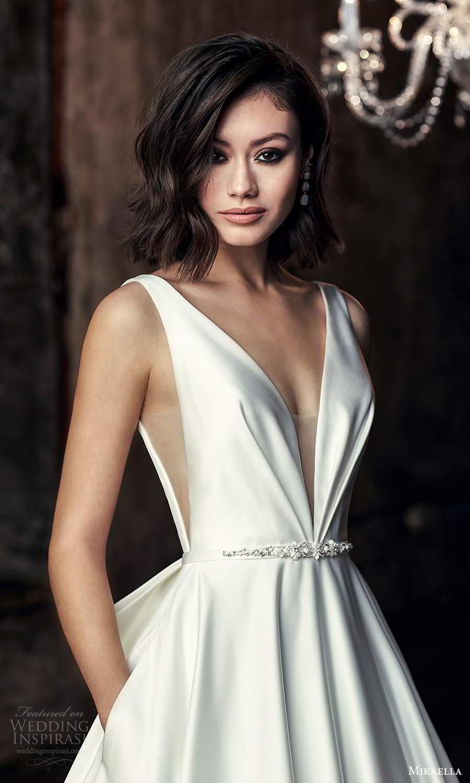 mikaella fall 2020 bridal sleeveless thick straps plunging v neckline clean minimalist modern a line ball gown wedding dress chapel train (6) zv
