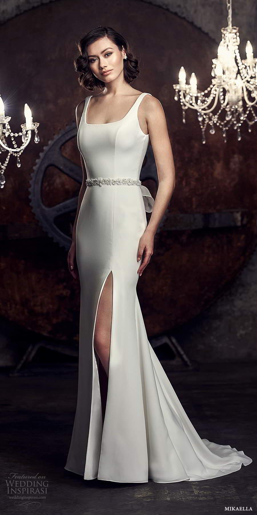mikaella fall 2020 bridal sleeveless thick straps square neckline clean minimalist modern sheath fit flare wedding dress slit skirt chapel train (9) mv