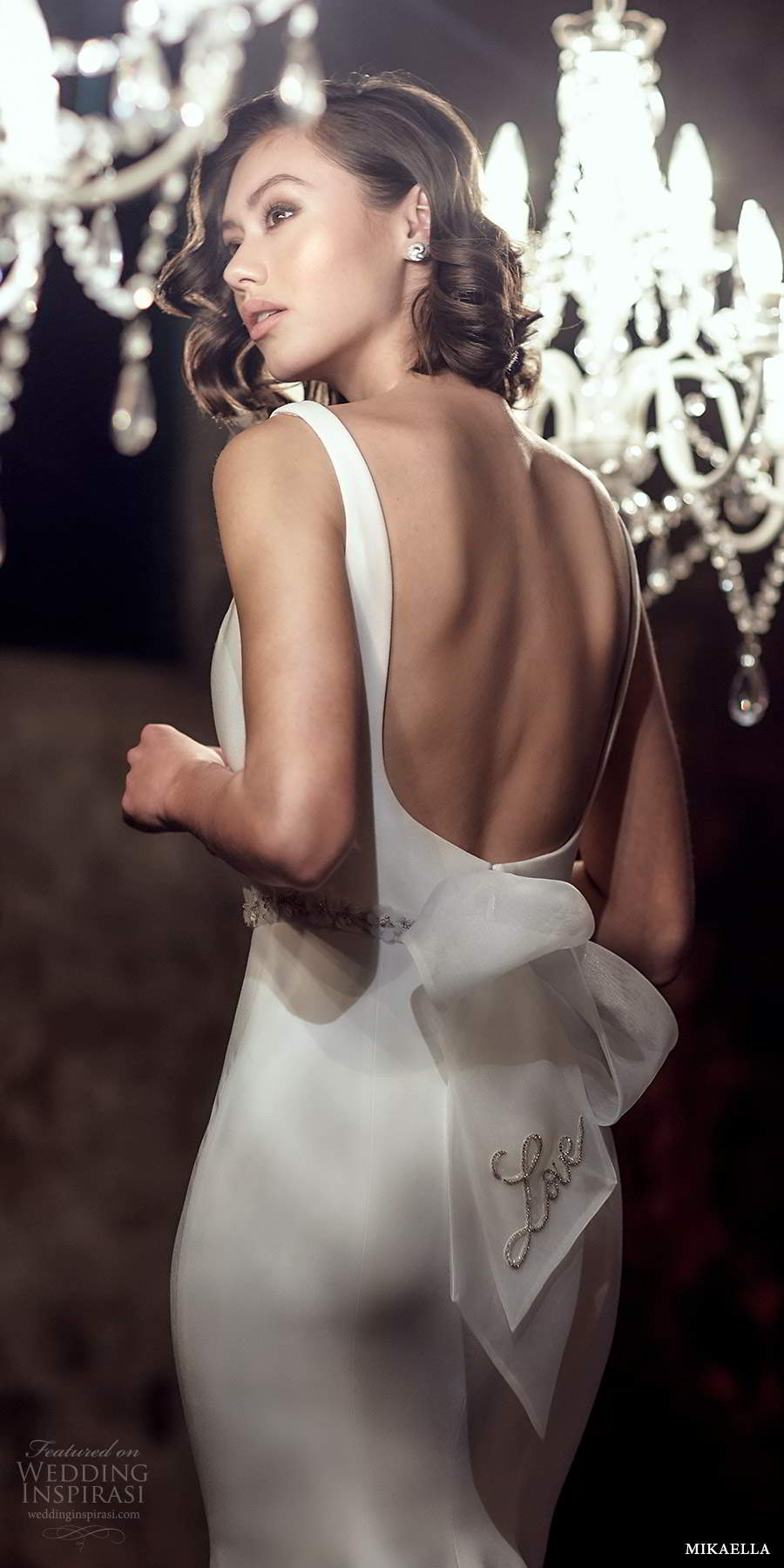 mikaella fall 2020 bridal sleeveless thick straps square neckline clean minimalist modern sheath fit flare wedding dress slit skirt chapel train (9) zbv