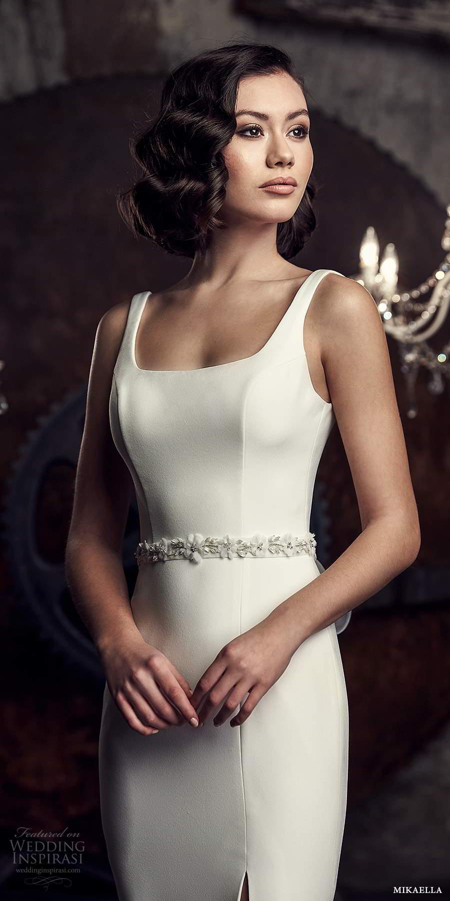 mikaella fall 2020 bridal sleeveless thick straps square neckline clean minimalist modern sheath fit flare wedding dress slit skirt chapel train (9) zv