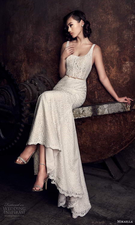 mikaella fall 2020 bridal sleeveless thick straps square neckline fully embellished sheath wedding dress (15) fv