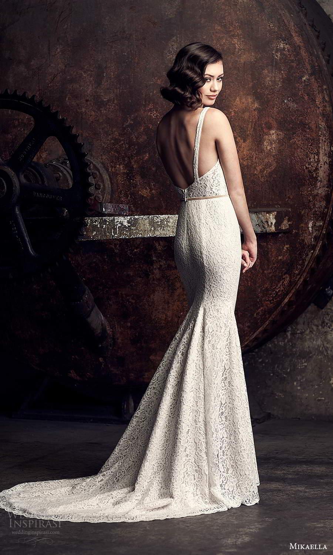 mikaella fall 2020 bridal sleeveless thick straps square neckline fully embellished sheath wedding dress chapel train (15) bv