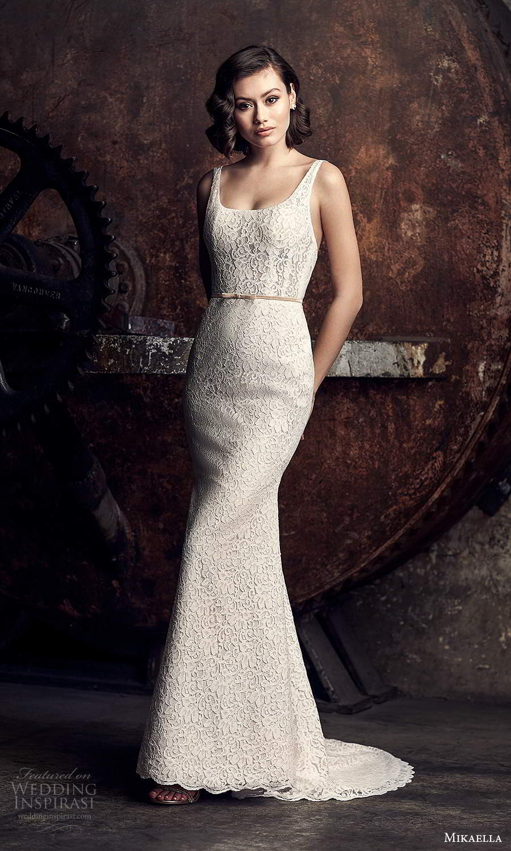 mikaella fall 2020 bridal sleeveless thick straps square neckline fully embellished sheath wedding dress chapel train (15) mv