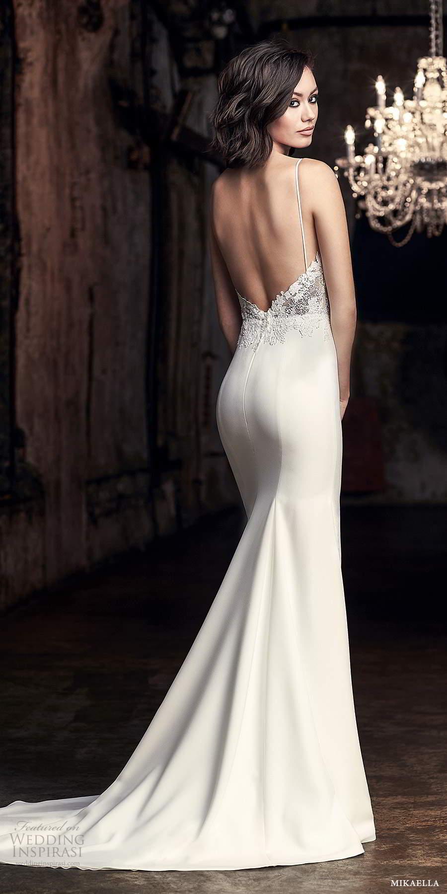 mikaella fall 2020 bridal sleeveless thing straps sweetheart neckline embellished lace bodice fit flare mermaid wedding dress slit skirt low back chapel train (5) bv
