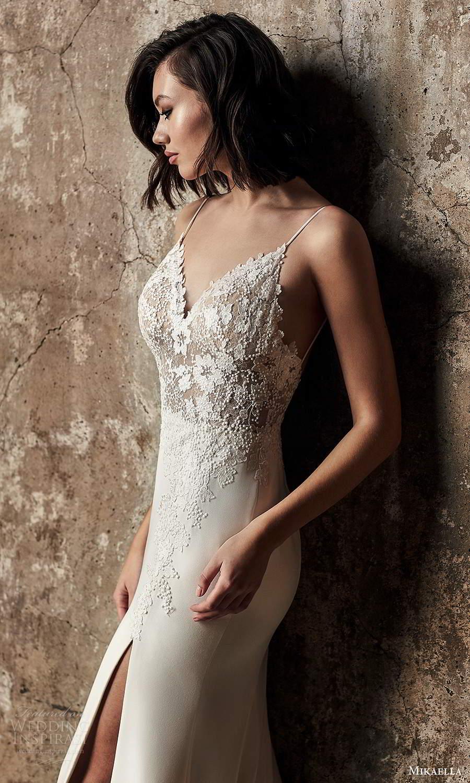 mikaella fall 2020 bridal sleeveless thing straps sweetheart neckline embellished lace bodice fit flare mermaid wedding dress slit skirt low back chapel train (5) zv