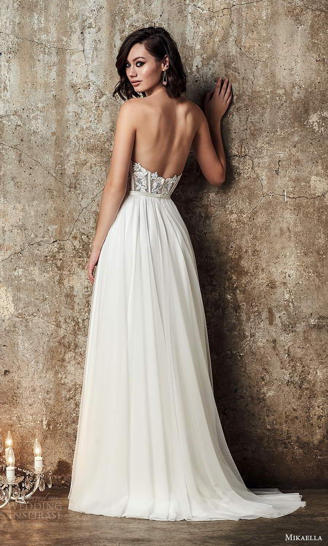 mikaella fall 2020 bridal strapless semi sweetheart neckline embellished bodice a line ball gown wedding dress sweep train (8) bv