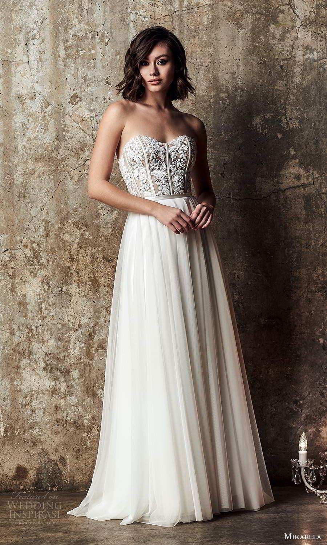 mikaella fall 2020 bridal strapless semi sweetheart neckline embellished bodice a line ball gown wedding dress sweep train (8) mv