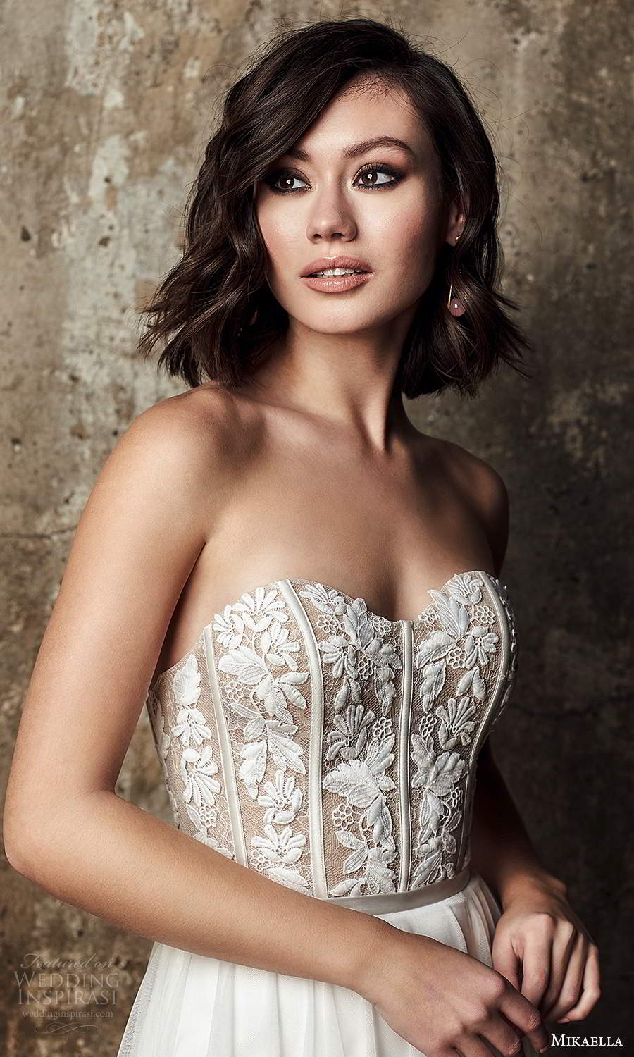 mikaella fall 2020 bridal strapless semi sweetheart neckline embellished bodice a line ball gown wedding dress sweep train (8) zv
