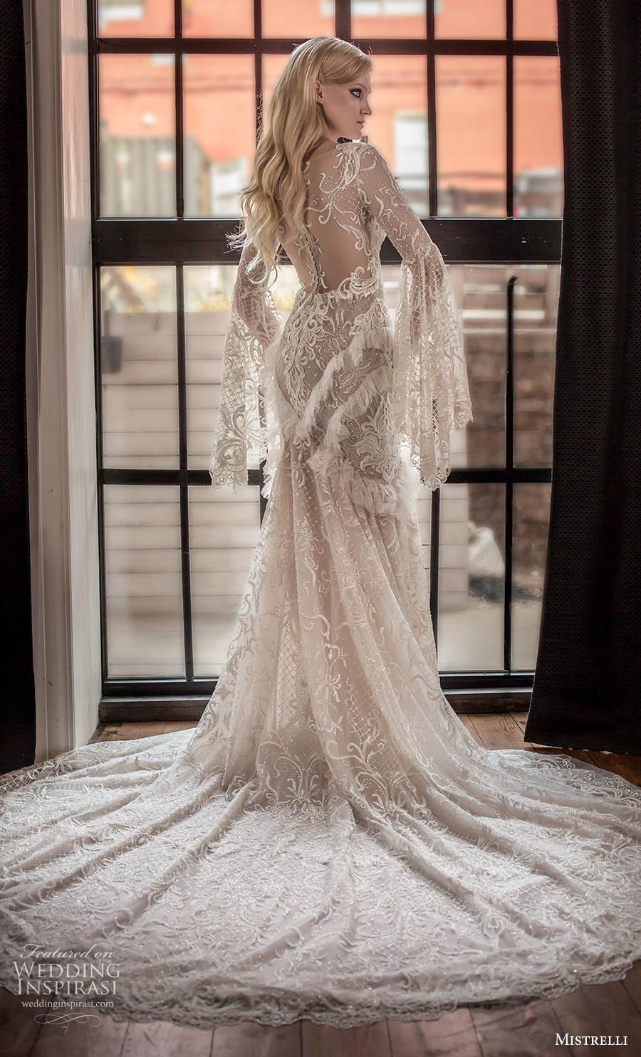 mistrelli 2021 royal drama bridal long bell sleeves bateau neck full embellishment elegant mermaid wedding dress sheer lace back chapel train (10) bv