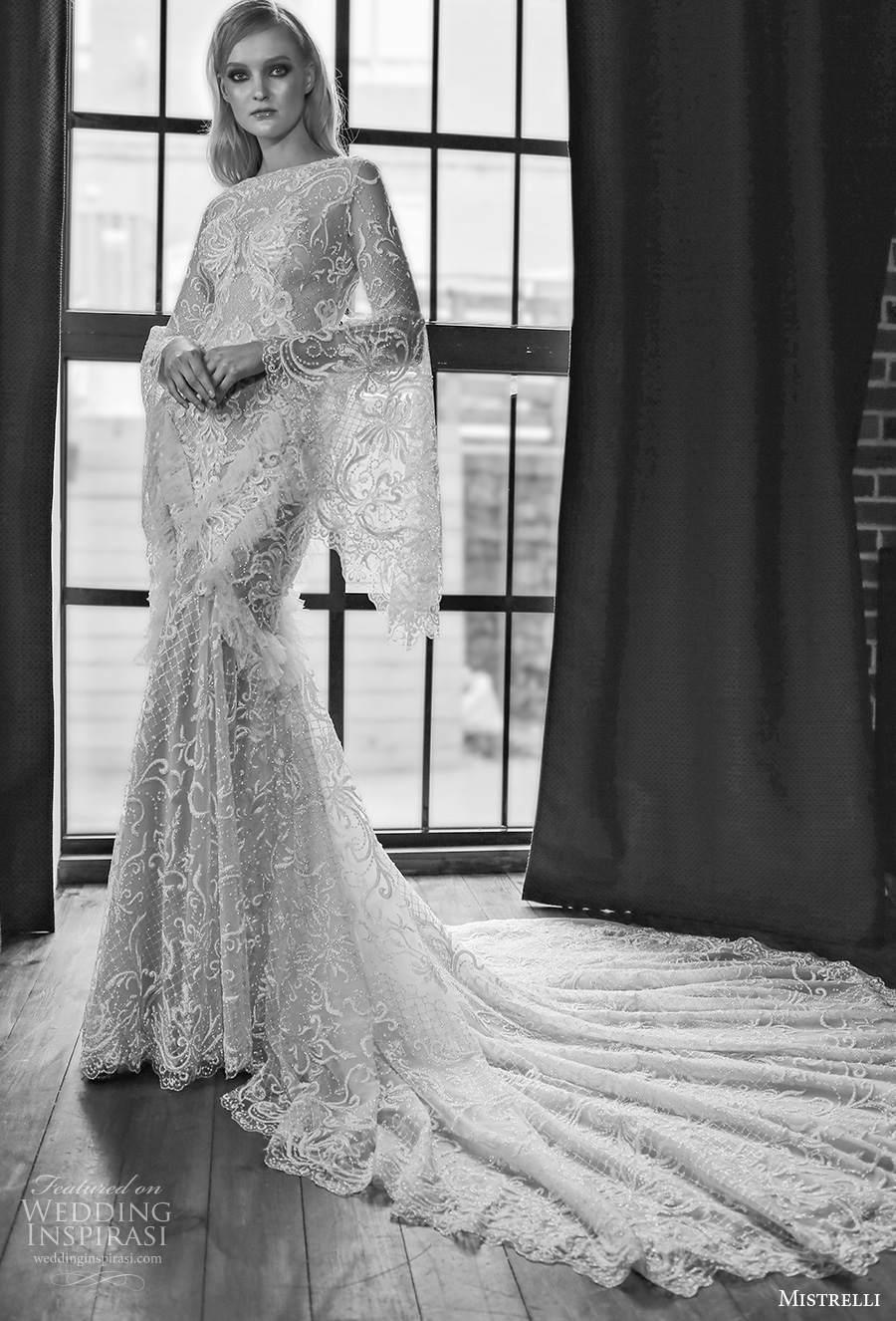 mistrelli 2021 royal drama bridal long bell sleeves bateau neck full embellishment elegant mermaid wedding dress sheer lace back chapel train (10) mv