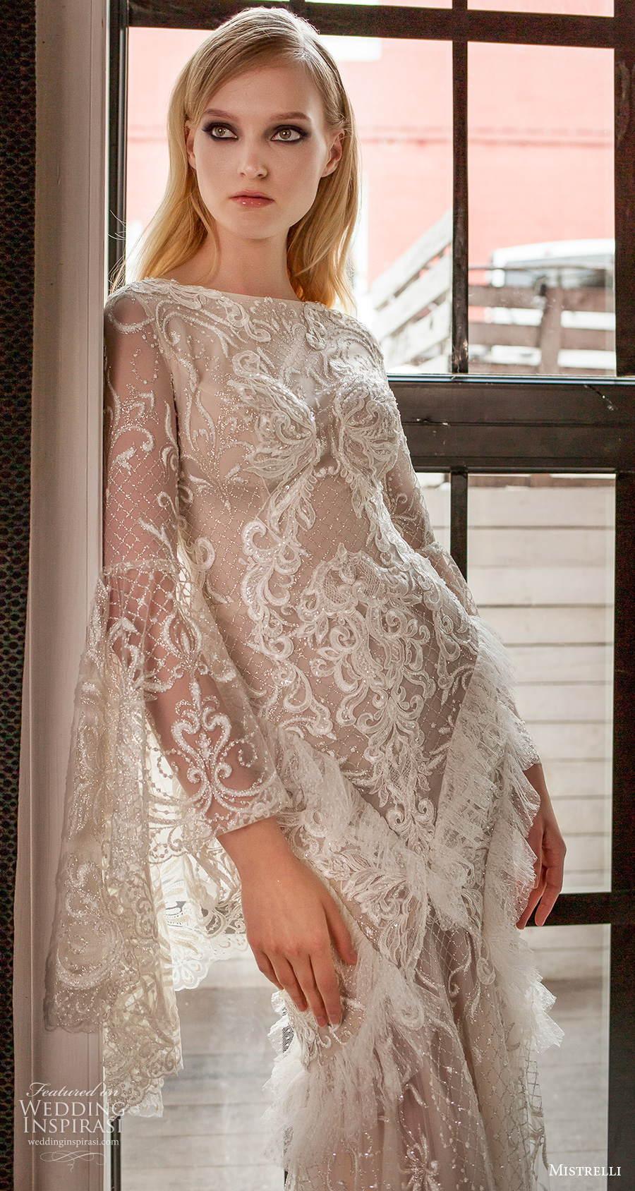 mistrelli 2021 royal drama bridal long bell sleeves bateau neck full embellishment elegant mermaid wedding dress sheer lace back chapel train (10) zv