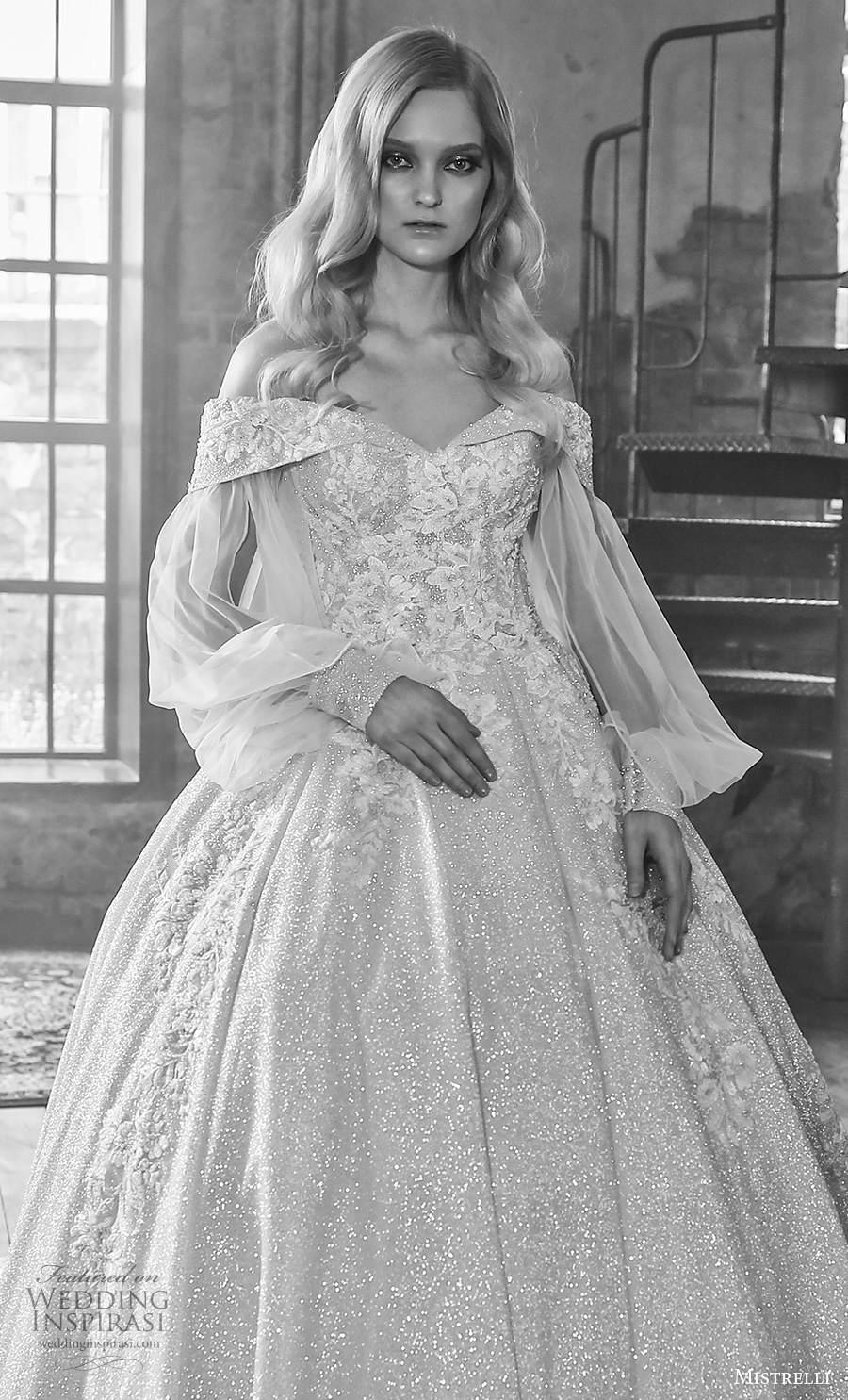 mistrelli 2021 royal drama bridal long bishop sleeves v neck full embellishment princess ball gown a  line wedding dress v back chapel train (13) zv