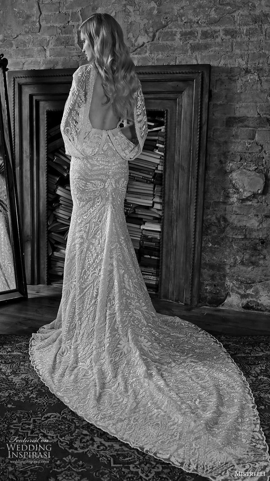 mistrelli 2021 royal drama bridal long hanging sleeves v neck full embellishment glamorous elegant sheath wedding dress backless low back chapel train (2) bv