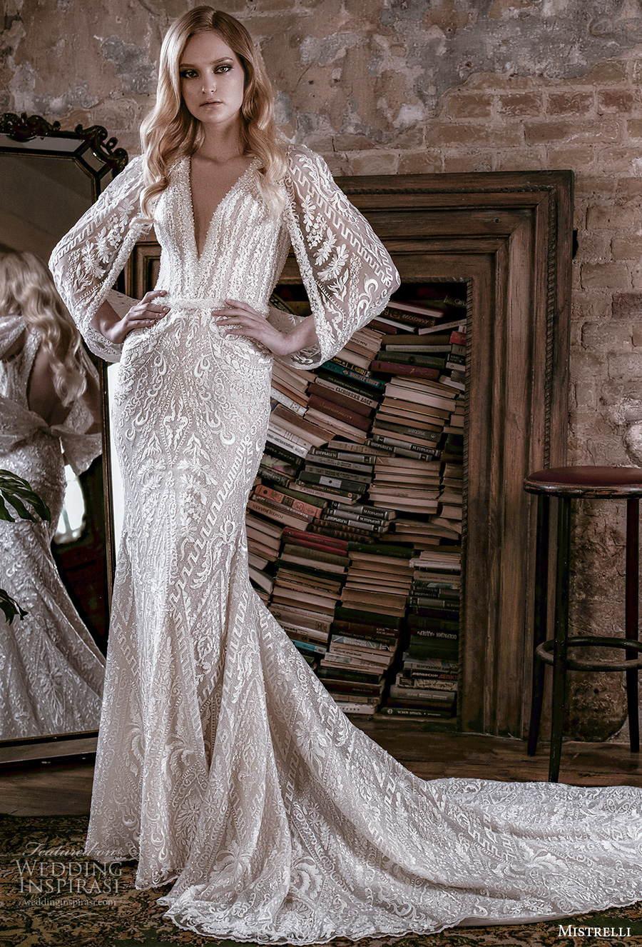 mistrelli 2021 royal drama bridal long hanging sleeves v neck full embellishment glamorous elegant sheath wedding dress backless low back chapel train (2) mv