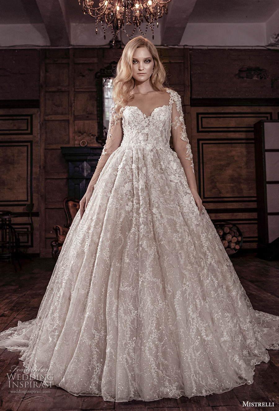 mistrelli 2021 royal drama bridal long sleeves sweetheart neckline full embellishment princess a  line wedding dress v back chapel train (1) mv