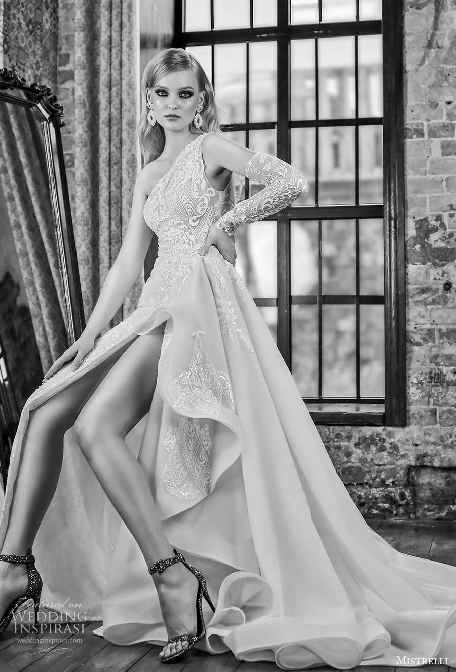 mistrelli 2021 royal drama bridal one shoulder full embellishment slit skirt sexy elegant sheath wedding dress a  line overskirt chapel train (14) mv
