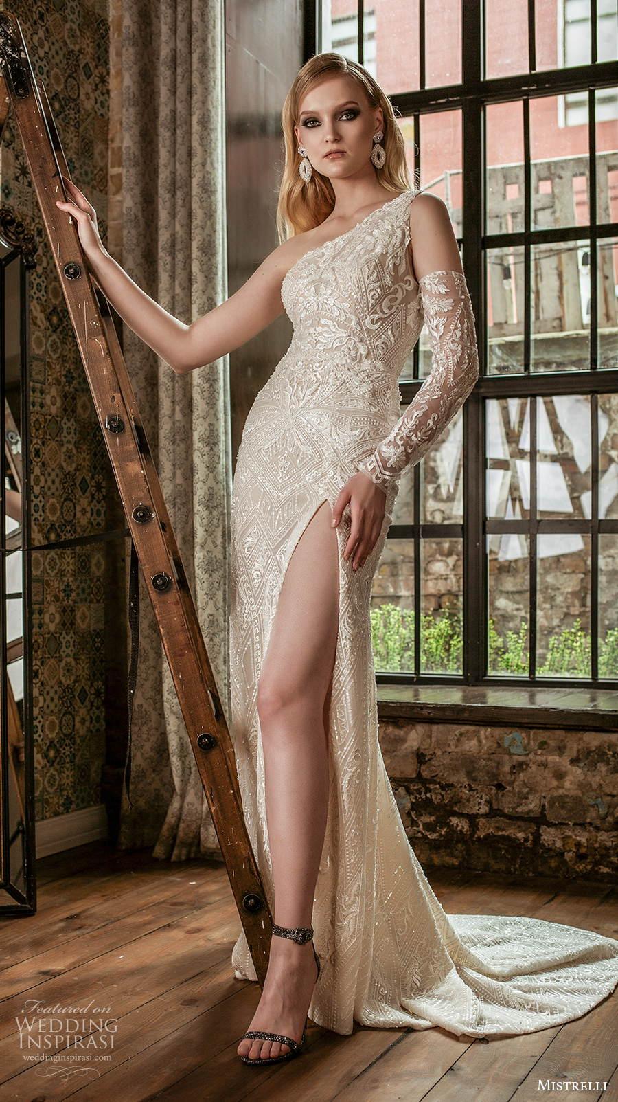 mistrelli 2021 royal drama bridal one shoulder full embellishment slit skirt sexy elegant sheath wedding dress medium train (14) mv