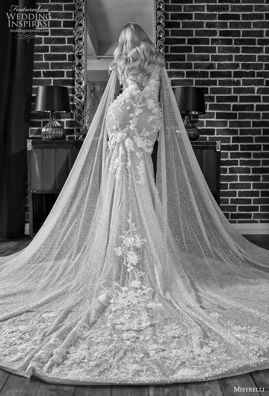mistrelli 2021 royal drama bridal sleeveless deep plunging v neck full embellishment elegant sheath wedding dress low v back chapel train (12) bv