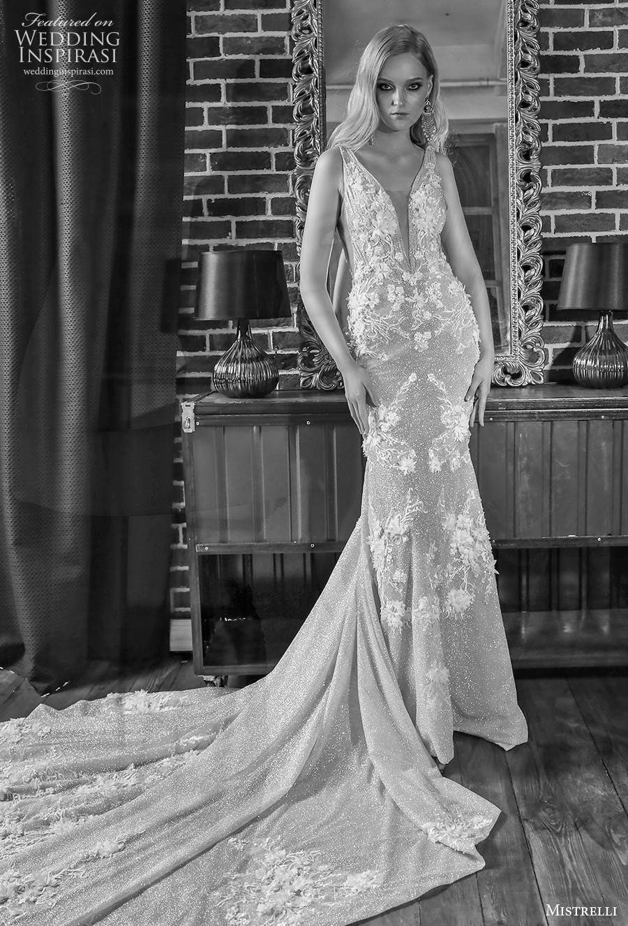 mistrelli 2021 royal drama bridal sleeveless deep plunging v neck full embellishment elegant sheath wedding dress low v back chapel train (12) mv