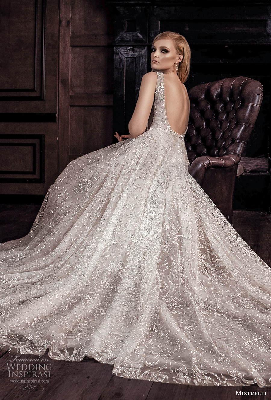 mistrelli 2021 royal drama bridal sleeveless deep v neck full embellishment romantic modified a  line wedding dress backless scoop back chapel train (5) bv
