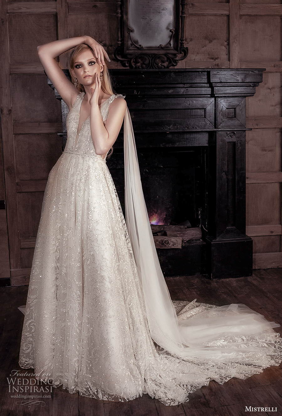 mistrelli 2021 royal drama bridal sleeveless deep v neck full embellishment romantic modified a  line wedding dress backless scoop back chapel train (5) mv