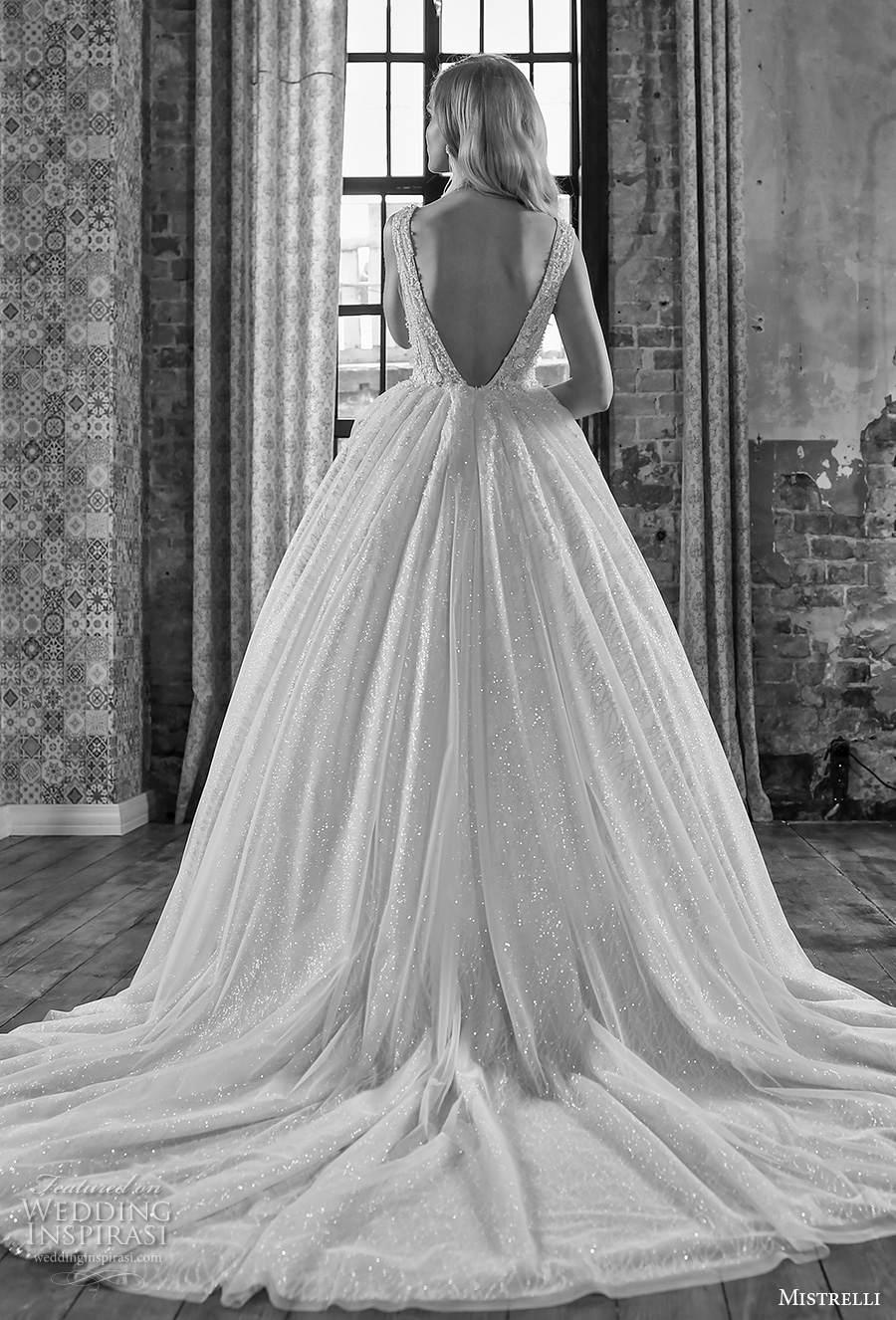 mistrelli 2021 royal drama bridal sleeveless deep v neck heavily embellished bodice romantic ball gown a  line weding dress backless low v back chapel train (3) bv