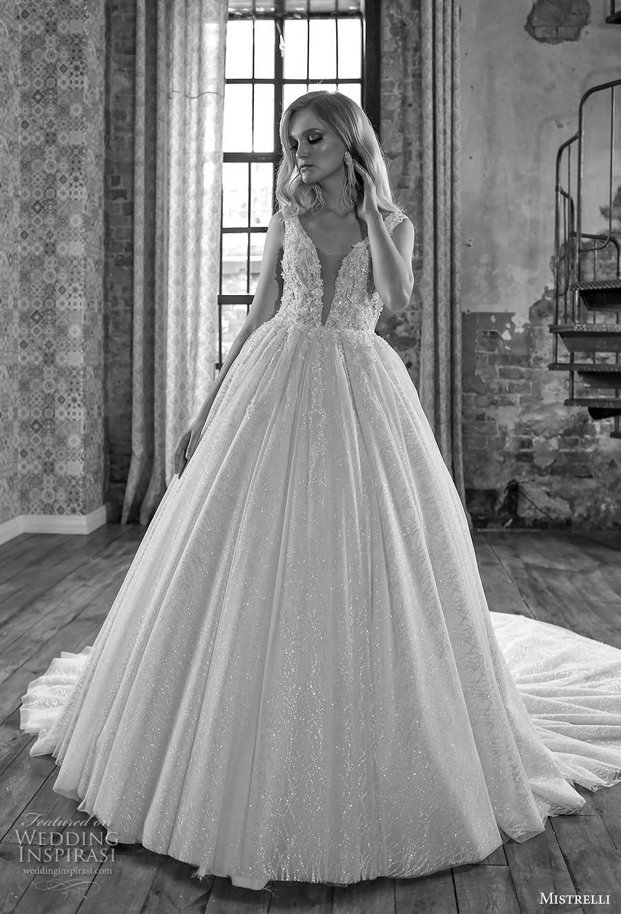 mistrelli 2021 royal drama bridal sleeveless deep v neck heavily embellished bodice romantic ball gown a  line weding dress backless low v back chapel train (3) mv