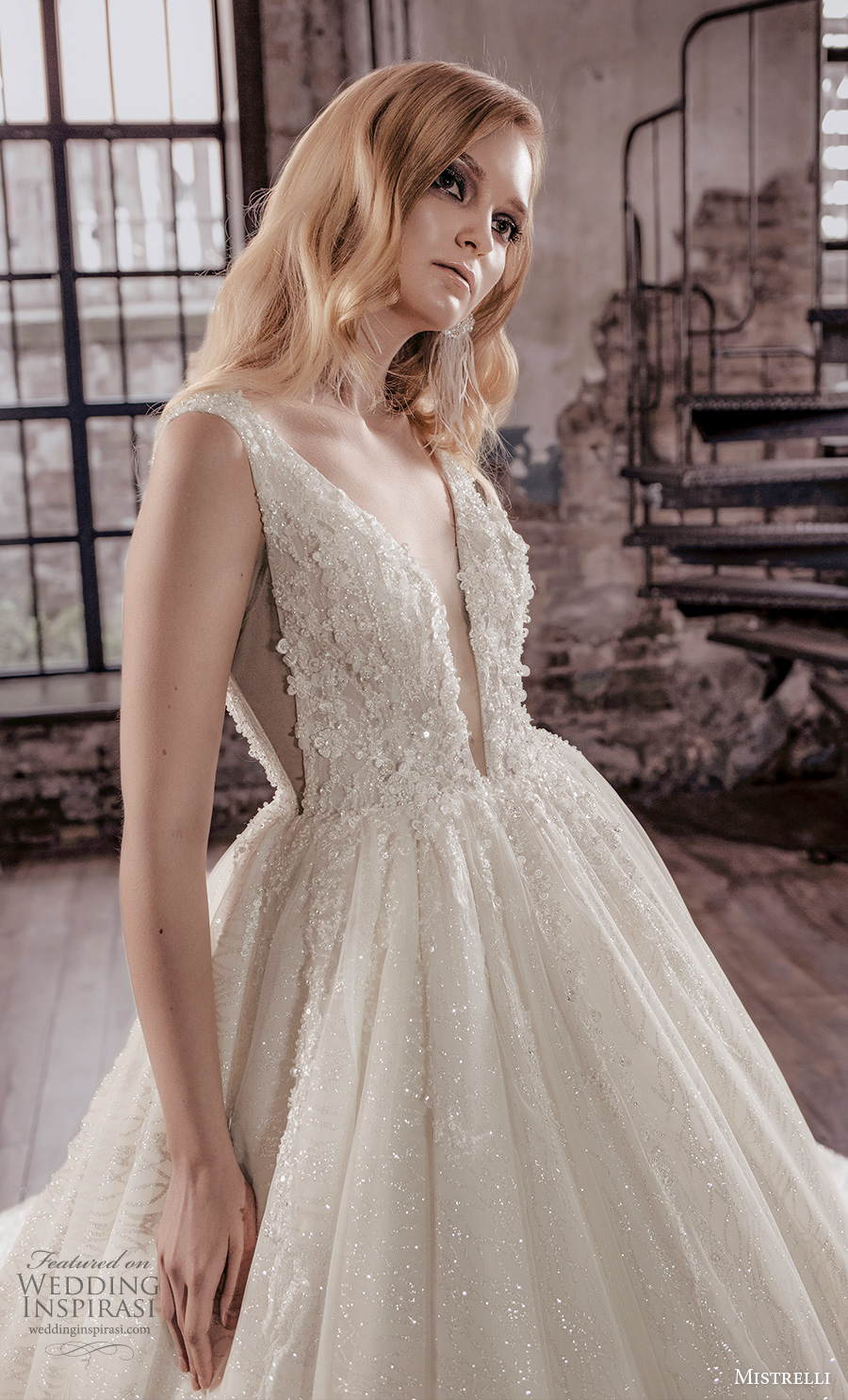 mistrelli 2021 royal drama bridal sleeveless deep v neck heavily embellished bodice romantic ball gown a  line weding dress backless low v back chapel train (3) zv