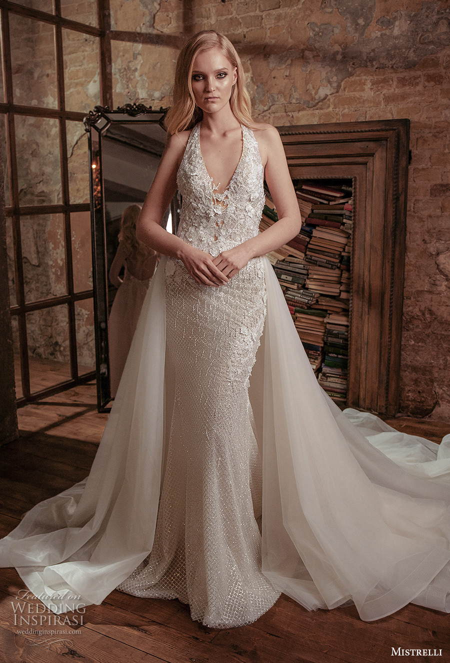 mistrelli 2021 royal drama bridal sleeveless halter neck v neck full embellishment glamorous sheath wedding dress a  line overskirt backless chapel train (7) mv