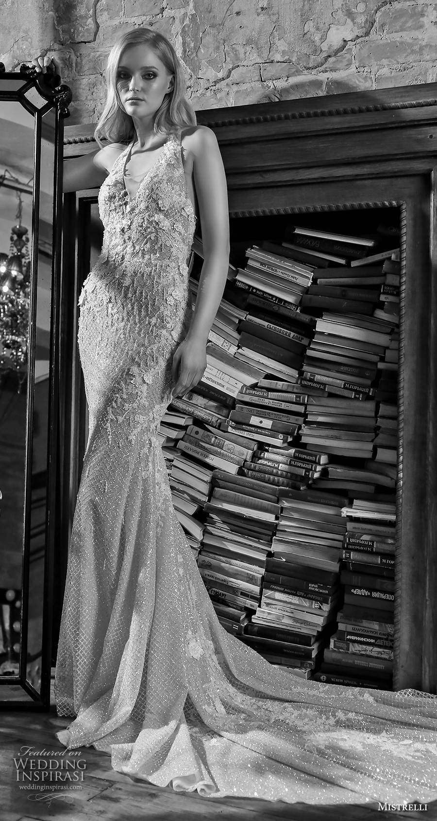 mistrelli 2021 royal drama bridal sleeveless halter neck v neck full embellishment glamorous sheath wedding dress backless chapel train (7) mv