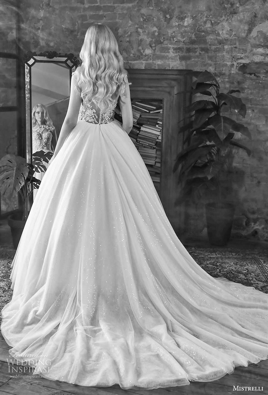 mistrelli 2021 royal drama bridal sleeveless jewel neck sweetheart neckline heavily embellished bodice romantic ball a  line wedding dress sheer button back chapel train (15) bv